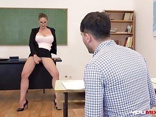 Big tits, Brunette, College, Glasses, Student