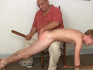 Twink gets spanked and arse fucked overwrought his step dad