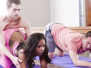 Yoga Teacher Fucked Ebony Girl in Trio