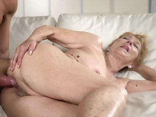 A grotesque old granny gets a hard dick d