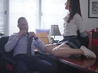 Vivid naughty coed chick Danni Rivers gets nailed off out of one's mind her tutor on table