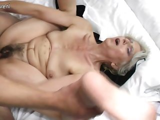 Muted grandma hard fucked by young lover