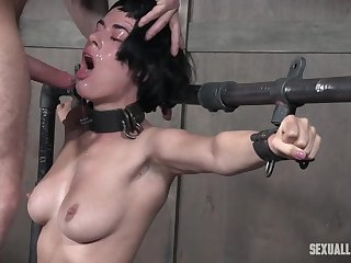 Short haired brunette Olive Glass face and pussy abused wits a big Hawkshaw