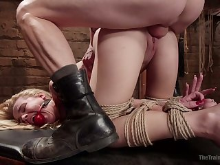 Gagged buxom cowgirl with glum boodle Alina West gets holes fucked