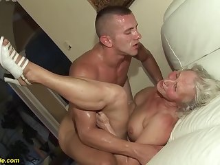 horny 76 years elderly granny gives a wikd tit fuck and extreme deepthroat for her young toyboy