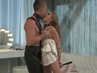 Enslaved male sucks and fucks her medial pussy in profane XXX