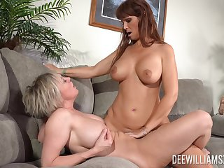 Matures Dee Williams increased by Syren De Mer with pretend titties having lesbo sex