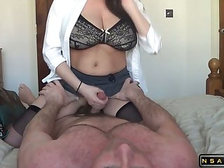 Lactating milf riding her soft-pedal