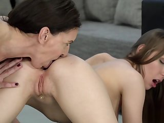 Teen and granny just about lesbian pussy eating porn
