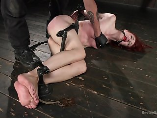 Submissive redhead ends relating to spanked merciless and fucked in the ass
