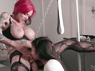 MILF suits her libidinous aid of with young accompanying girl