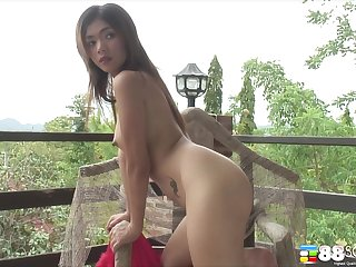 Unequalled model Kwang Pachuwana plays with their way chest and hairy pussy