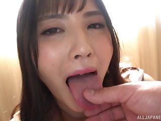 Amateur Japanese Fujishiro Momone rides her lover's troubled penis