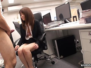 Japanese tryst newborn stays late after work about drag inflate her co worker's dick