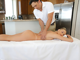 Emma Hix gets a rub down and cock