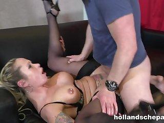 German mature with corroded big tits fucks bald man