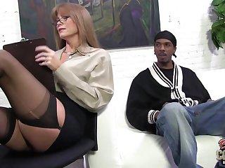 Redhead Mom seduces skinny ebony dude