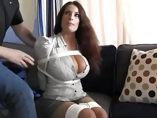Buxomy housewife gets immensely crazy when she gets corded up and left on the flabbergast