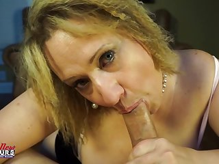 Donna sucks dick as a mature big boob floosie