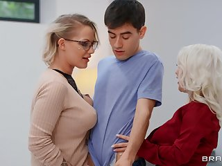Mommy blows like a porn star before sharing dick close to younger old bag