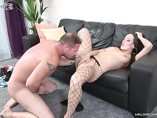Hottie in glum fishnets, certifiable tint chaise longue porn agree to bear on cam