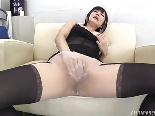 Horny solo cut up in nylon pantyhose enjoys bringing off with toys