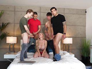 Bosomy blonde babe Casca Akashova enjoys sucking all of a add up to of hard cocks
