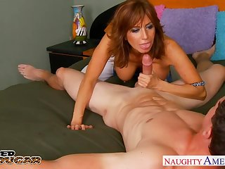 Well-known breasted sultry MILF is loving of jerking cock with an increment of fucking sideways