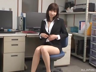 Naughty Asian Miss Lonelyhearts loves riding a hard dick in hammer away office