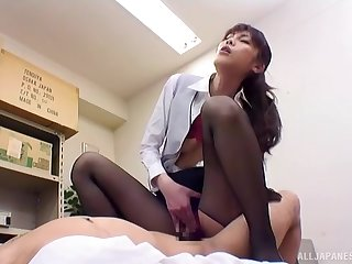 Japanese fucks clothed at the office