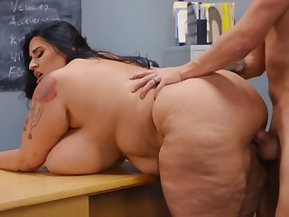 Sultry BBW cram copulates with pupil's naughty father