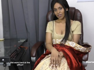 Indian Aunty seducing will not hear of cousin point of view in Tamil sex video