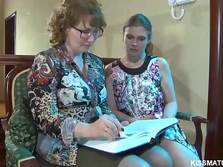 Blond Russian mature is about to poke a pioneering all girl woman with a cord- on