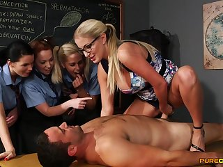 Wild light-haired lecturer flashes her schoolgirls no matter how upon gargle stiffy